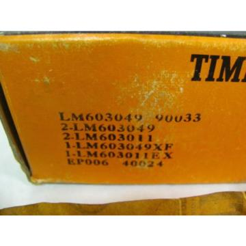 Timken LM603049 90033 Tapered Roller Bearing Set, New