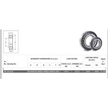 31312 Single Row Tapered Roller bearing. High End product. Quantities available.