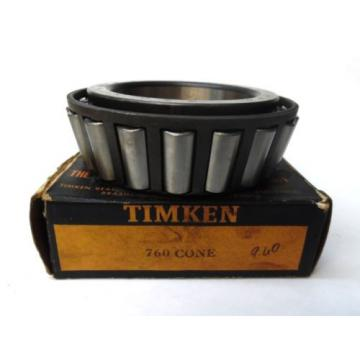 "TIMKEN TAPERED ROLLER BEARING CONE 760, INNER RING WIDTH 1.9"", 3-9/16"" BORE, NIB"