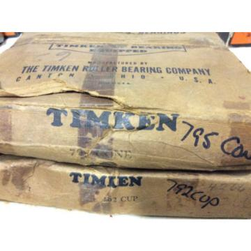 (1) TIMKEN 795 CONE 792 CUP Tapered roller Bearing