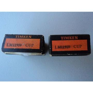"Lot of 2 New Timken Tapered Roller Bearing LM-11910 Cup ""NOS"""