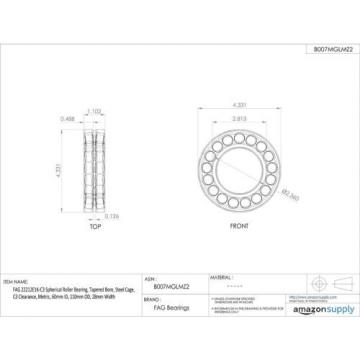FAG 22212E1K-C3 Spherical Roller Bearing, Tapered Bore, Steel Cage, C3 Clearance