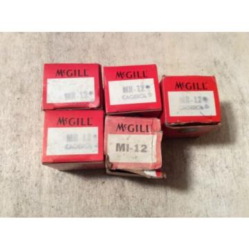 5- MCGILL  /bearings #MI-12 ,30 day warranty, free shipping lower 48!