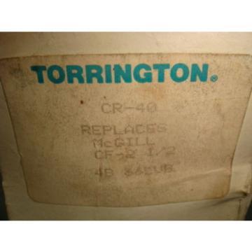 NEW TORRINGTON CAM FOLLOWER BEARING, CR-40, REPLACES MCGILL CF-2-1/2, NEW IN BOX