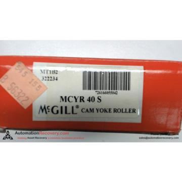 MCGILL MCYR 40 S CAM YOKE ROLLER INNER DIAMETER 40MM OUTER DIAMETER 80,  #113432