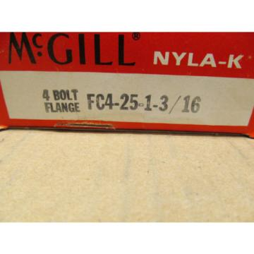 "1 NIB MCGILL FC4-25-1-3/16 FC42513/16 FC4251316 4 BOLT FLANGE BLOCK 1 3/16"" BORE"